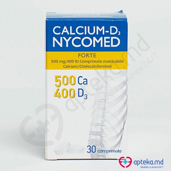 Calcium-D3 Nycomed Forte comp. masticab. 500 mg + 400 UI N30
